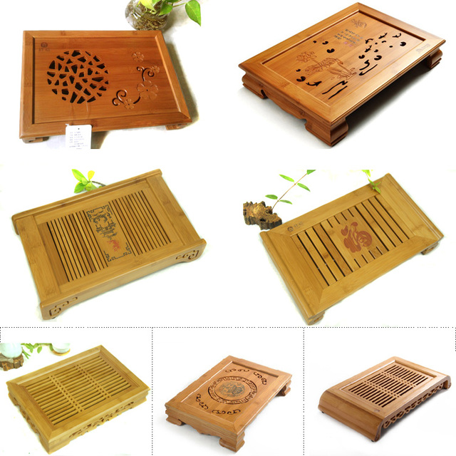 Bamboo tea table Hot Sale Kung Fu Tea Set Natural Wood Bamboo Tea Tray Rectangular Traditional Bamboo Puer Tea Tray