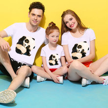 ZSIIBO Family Matching Outfits Father Son mom daughter Shirt Panda Family Look Clothes  T- shirt Girls Boys Baby Clothes set