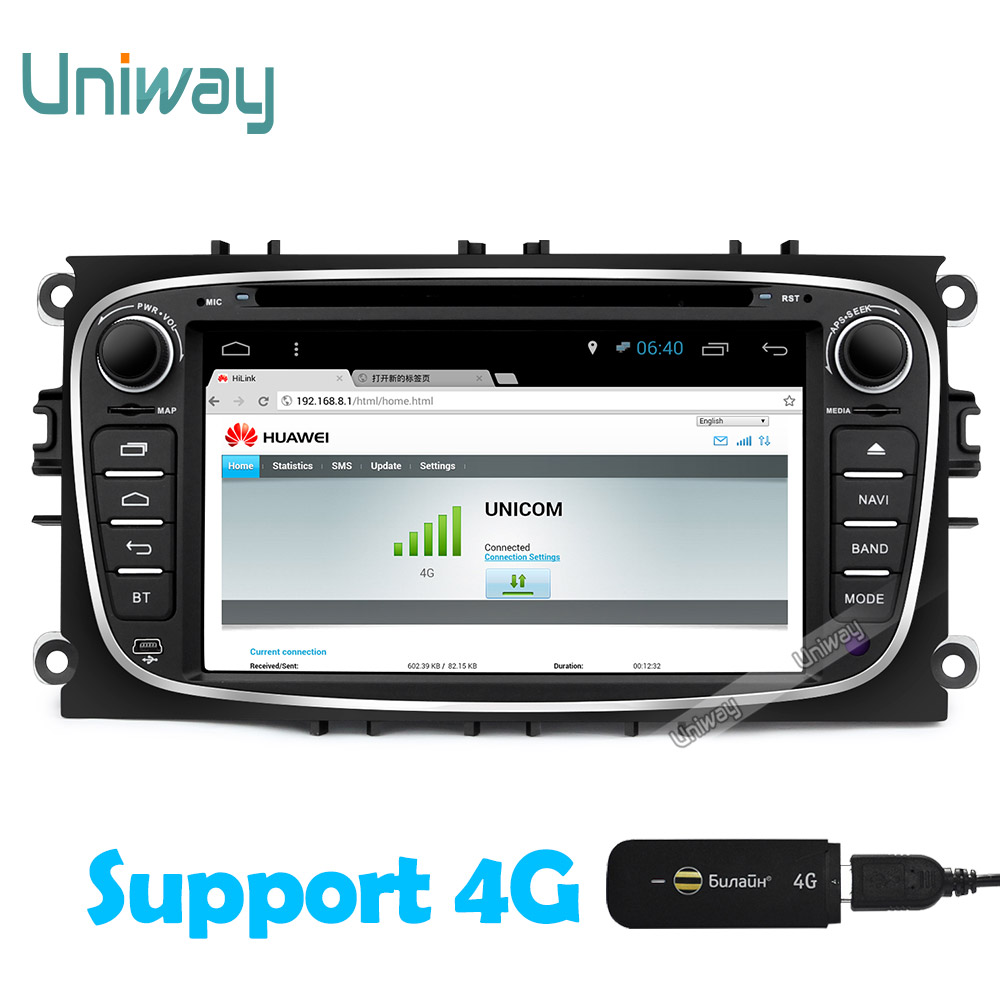 Aliexpress com acheter uniway 2 din android autoradio pour ford mondeo focus s max c max 4 core voiture dvd lecteur avec volant de android car radio fiable