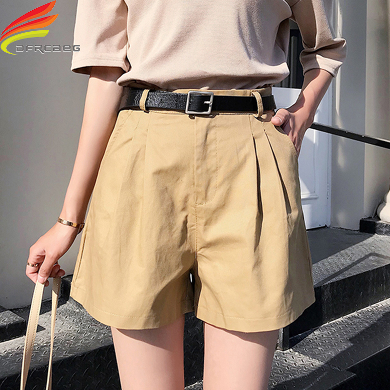New Summer Shorts Women Casual Sashes Cotton Shorts Women Wide Leg Shorts Slim All-Match Sporting Plus Size Shorts Female
