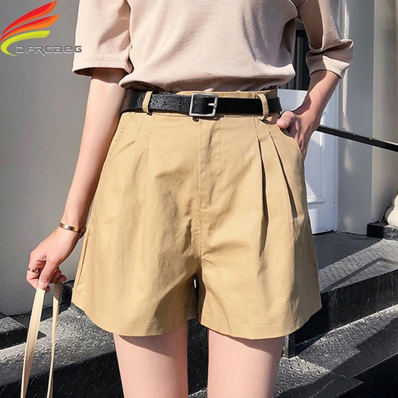 New Summer Shorts Women Casual Sashes Cotton Shorts Women Wide Leg Shorts Slim All-Match Sporting Plus Size Shorts Female