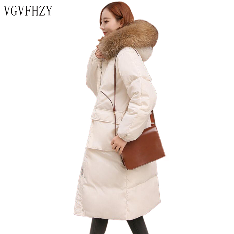 2018 Women   Down   Jacket White Duck   Down     Coat   Outwear with Real Raccoon Fur Trim Hooded Winter Warm   Coat   Female Snow Outerwear