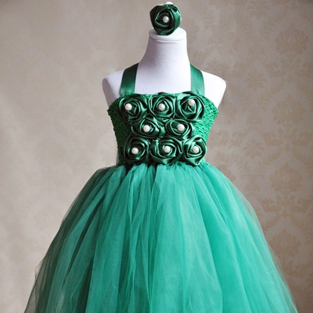 Cute Girls Flowers Long Tutu Dresses Kids Crochet Tulle Tutus Ball ...