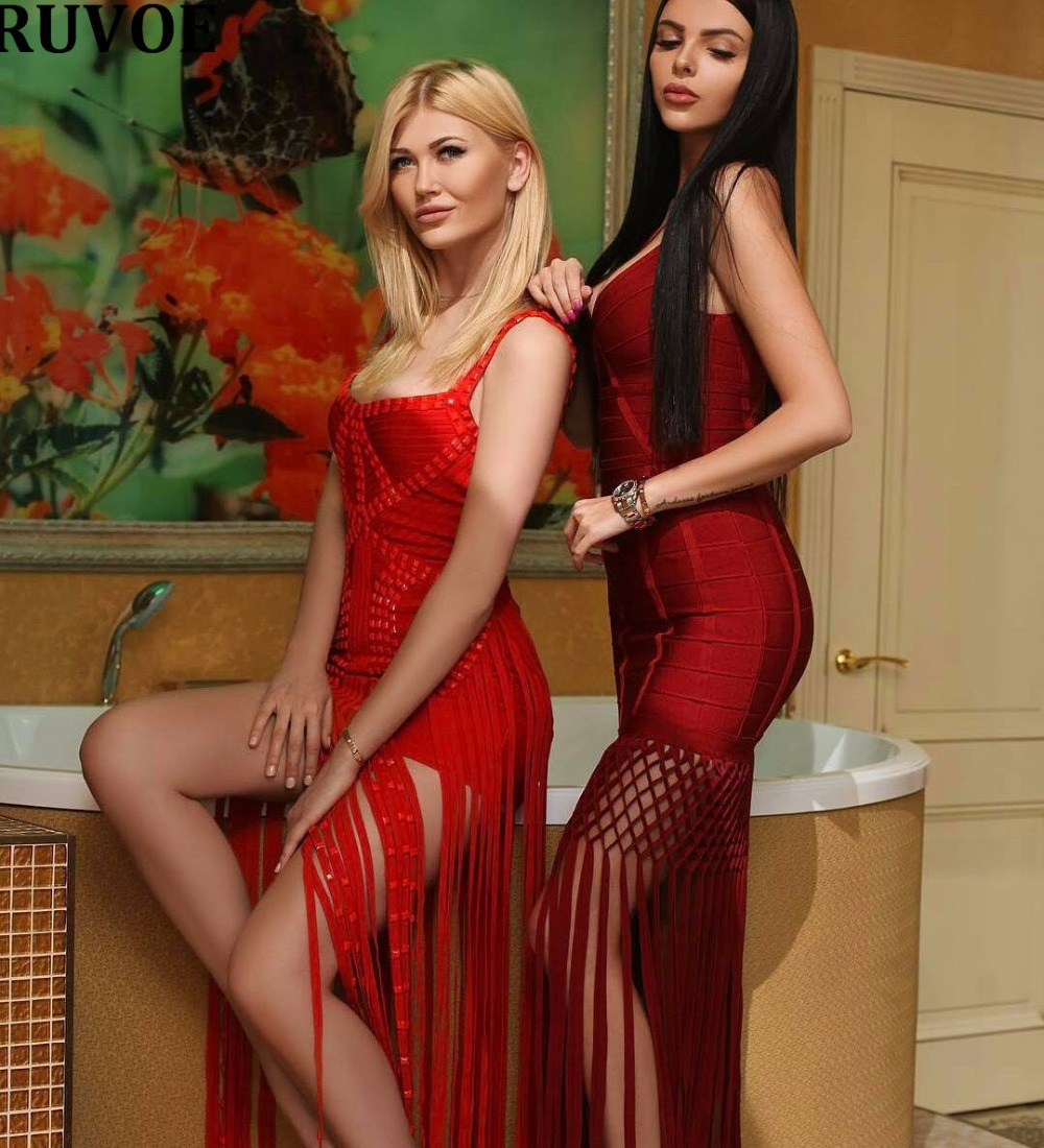 Soirée Bandage 2017 Casual Robe Sexy Bretelles Longue Robes Printemps Maxi De Nouvelles Dame Gland Rouge Piste Chaude Femmes A0wqZAB