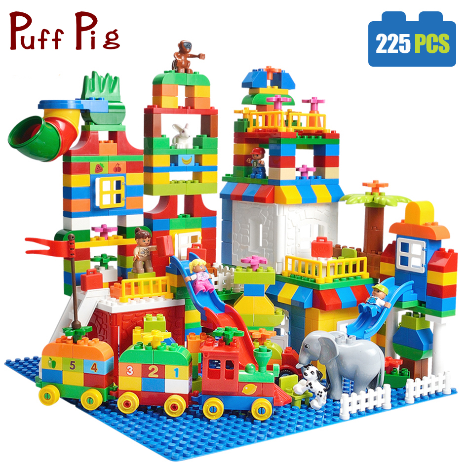 225PCS Big Size Building Blocks Number Train Bricks Birthday Gift DIY Compatible Legoed Duploe Educational Toys For Children baby toys small train vehicle diy building blocks plastic stack number letter matching intelligent toy for children gifts 45pcs