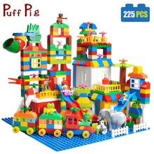 225PCS Big Size Building Blocks Number Train Bricks Birthday Gift DIY Compatible Legoed Duploe Educational Toys For Children