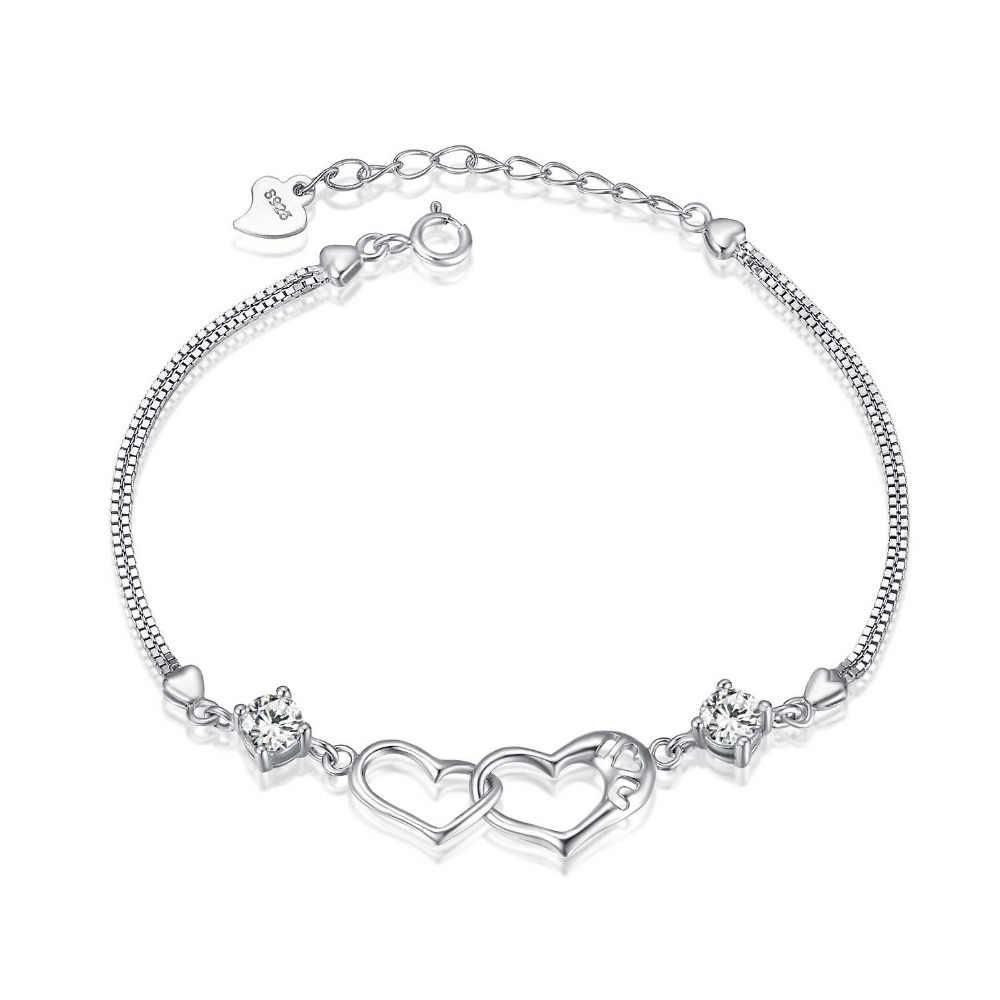 Эльвира Двойное сердце 925 Щепка браслет связаны сердца Для женщин кронштейн День