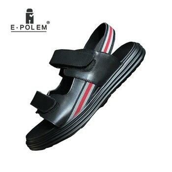 men gladiator sandal genuine leather breathable thick bottom platform casual sandals