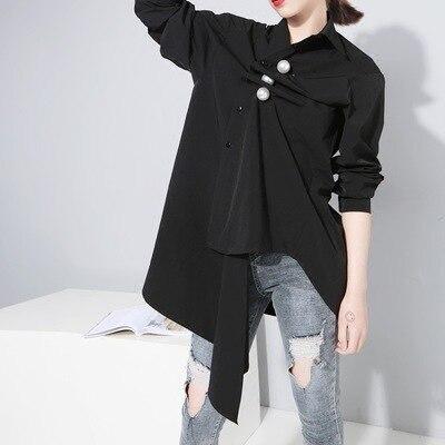 Algodón Black aiweier Blusas milky Perla Femenina Fold Otoño Ropa Lino Elegante Desgaste White De Womanwomen Solapa Tops 2018 Camisa qgaxArgtFn