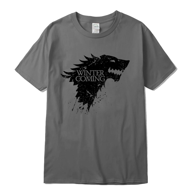 Stark 100% cotton short sleeve Game of Thrones Men   T  -  shirt   casual men tshirt Tops Tees WINTER IS COMING MEN   T     shirt