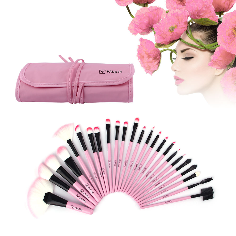 VANDER 24 Pcs Makeup Brushes Set Pink Beauty Cosmetics Eyebrow Shadow Lip Face Powder Pincel Make Up Maquiagem Tools + Pouch Bag fancy pink little girls dress long flower girl dress kids ball gown with sash first communion dresses for girls