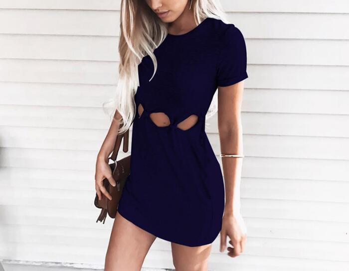 Women Casual Solid Hollow Out Mini Dress 2019 Sweet Women Summer Short Sleeve Dresses Female Beach Dress Vestido Party Dress
