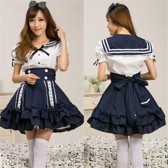 dd4bc8e368 Princesa Cosplay marineros Lolita vestido uniforme escolar japonés sin  mangas anime Girl marinero vestido Lolita Cosplay