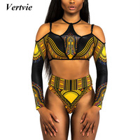 Vertvie Africa Style Bikini Set Women Printed Brazilian Biquinis Halter Beach Swimwear Long Sleeve Summer Bathing