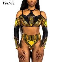 Vertvie Africa Style Bikini Set Women Printed Brazilian Biquinis Halter Beach Swimwear Long Sleeve Summer Bathing