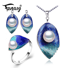 цены FENASY Pearl Jewelry sets 925 Sterling Silver stud earrings,natural Pearl leaf necklace for women Cloisonne earrings ring set