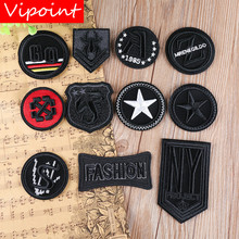 VIPOINT embroidery black letter patches army college badges applique for clothing YX-69