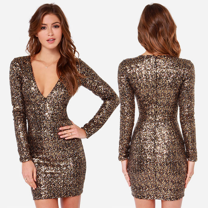 gold sequin dress long page 1 - bodycon