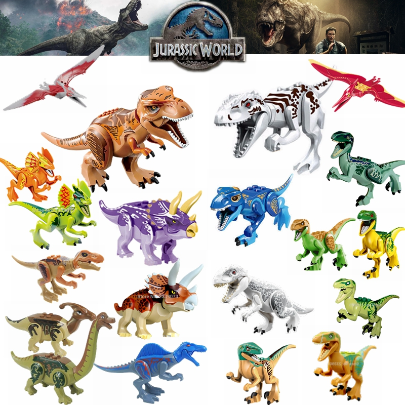 Legoing Jurassic World Dinosaurs Tyrannosaurus Rex Velociraptor Triceratops Set Blocks Toys For Children Legoings Jurassic Park
