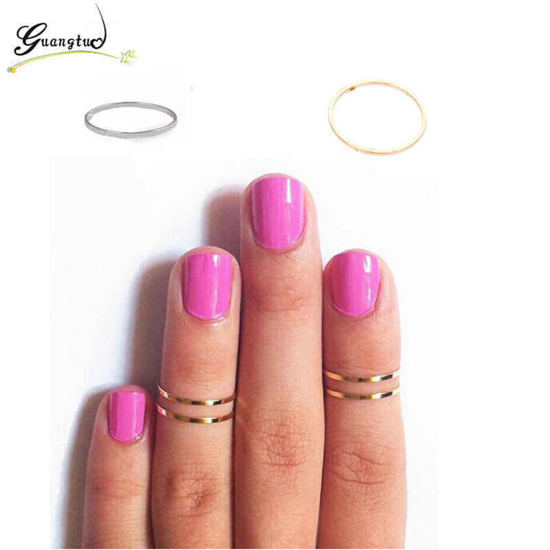 Simple Fine Jewelry Women Midi Finger Knuckle Ring Decorative Polished Brass Rings Joints Wedding & Engagement Jewelry