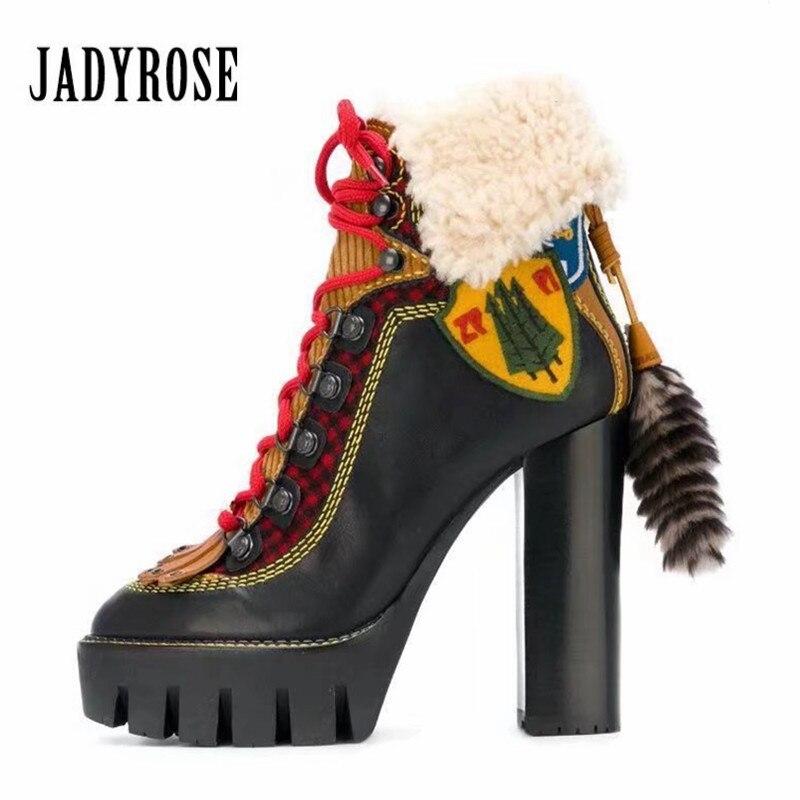 Jady Rose 2018 Nouvelles Femmes Cheville Bottes Femme À Talons Hauts Chunky Hiver Chaud Fourrure Bottes À Franges Lace Up Femmes Plate-Forme pompes