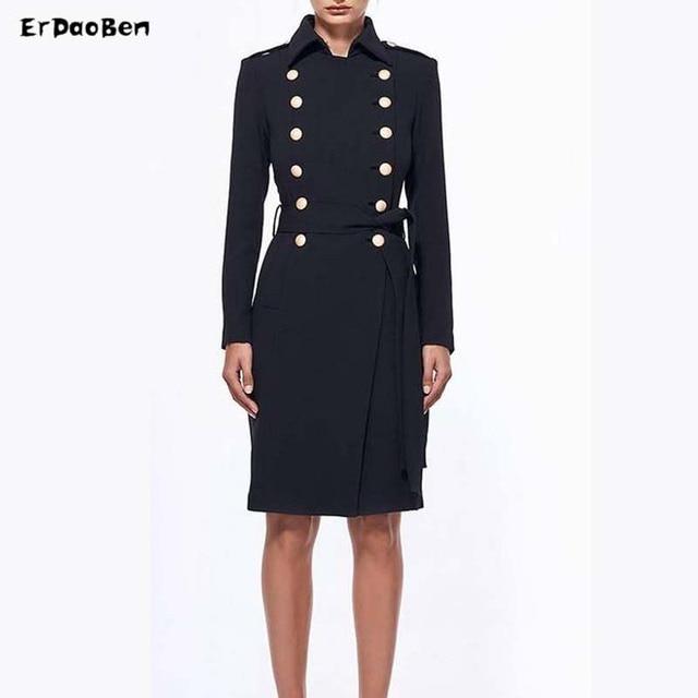 2de8d45a773 ERDAOBEN women s autumn winter trench coat Adjustable Waist Slim Solid  Black Coat White Long Female H10201
