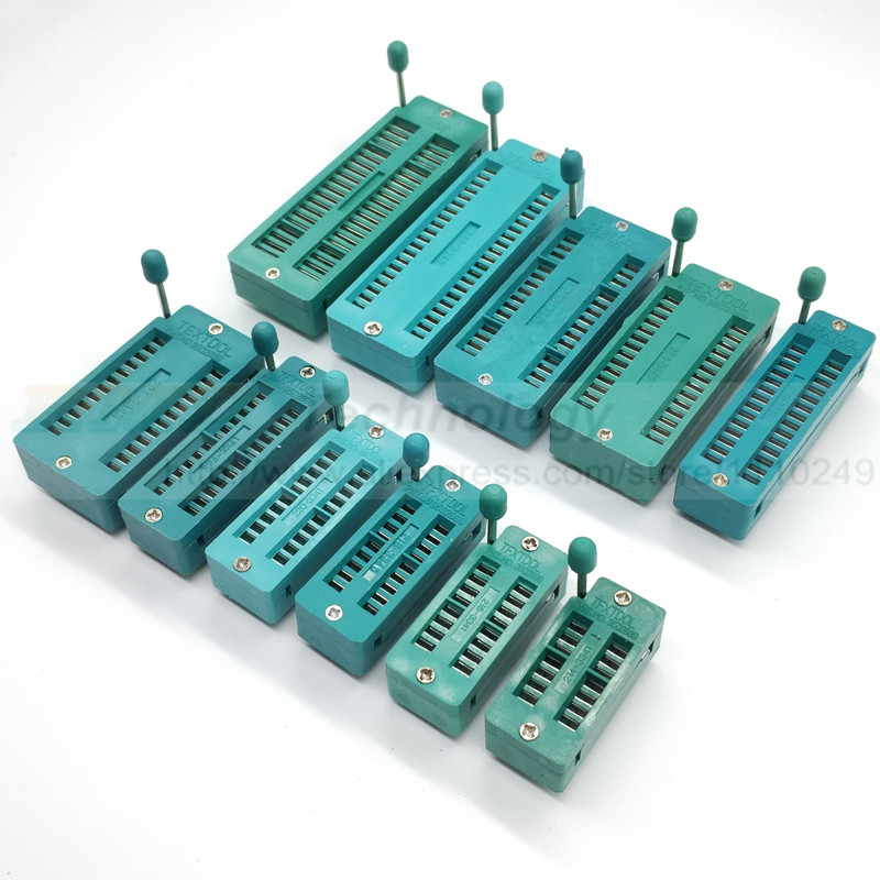 цена 2 PCS/LOT 14 16 18 20 24 28 32 40 P Pin 2.54 MM Green DIP Universal ZIF IC Socket Test Solder Type Free Shipping