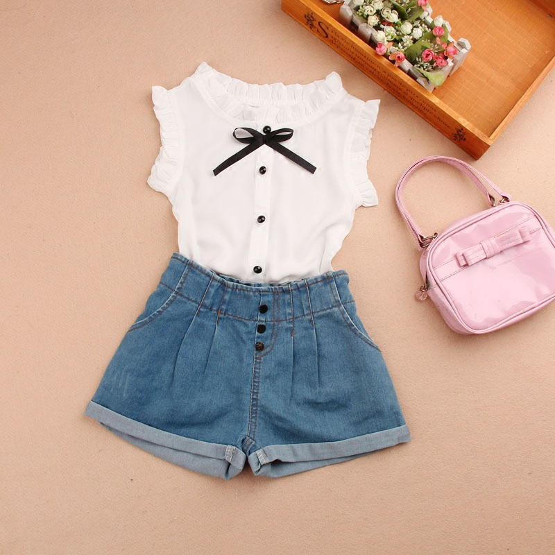 Baby Short Sleeve Blouse New Summer 2018 Chiffon White -5012