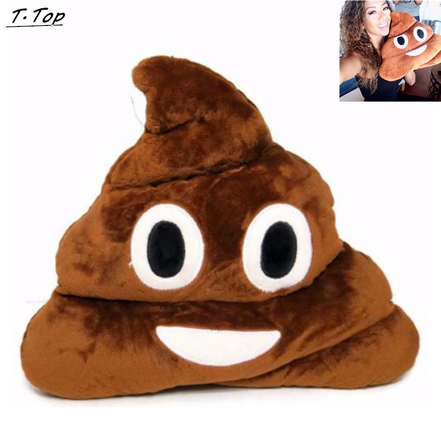 Cute Soft Poop Poo Smile Emotion Round Cushions Stuffed Plush font b Toy b font Pillow