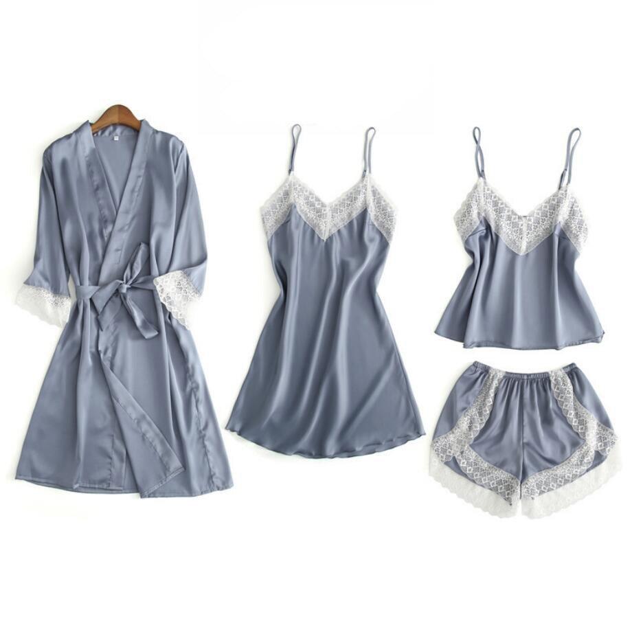 4pcs Sexy Silk Satin Pajama Set Female Lace Pyjama Set Sleepwear Summer Spring Home Wear nightwear For Women with Chest Pad 932