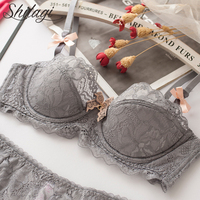 Shitagi Sexy Lace Bra And Transparent Panty Soft Women Underwear Set Tow Bow Intimates ABC Thin