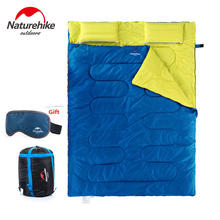 Naturehike factory sell New 2 People Cotton Sleeping bag Camping Sleeping bag With Pillow Noon Break Sleeping bag SD15M030-J