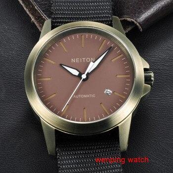 Neiton Sapphire Glass 42mm Luminous Automatic Movement Coffee Watch mens E1290