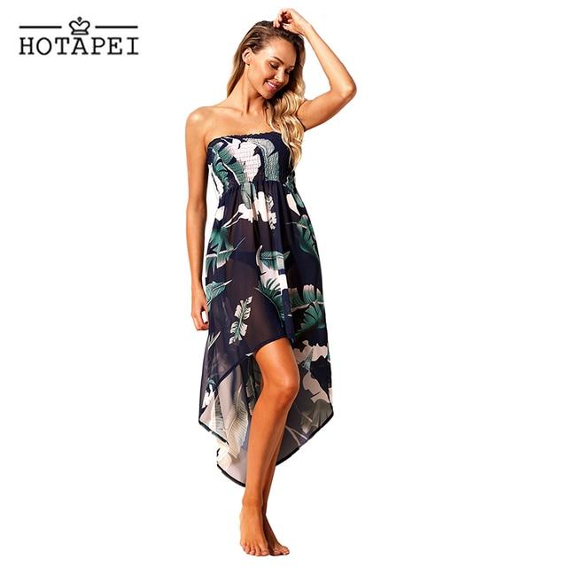 1a41567d6c Hotapei Tropical Leaf Print Navy Convertible Beach Dress women 2019 new side  split chiffon Pareo Saida