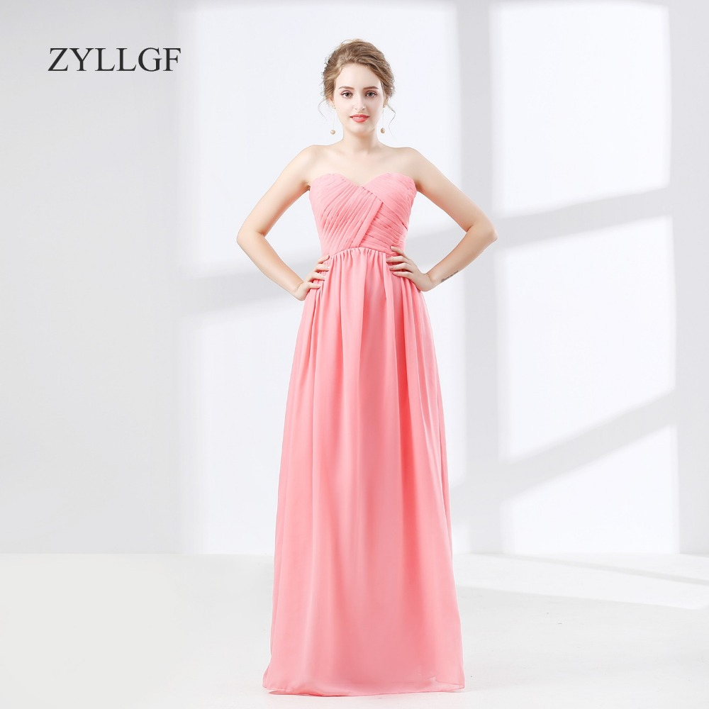Zyllgf vestido de Madrina de casamento Longo gasa invitado de boda ...