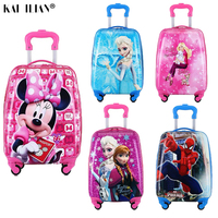 16/18 inch Kids Cartoon rolling luggage children travel suitcase on wheel trolley luggage carry ons hardside bag for kid gift