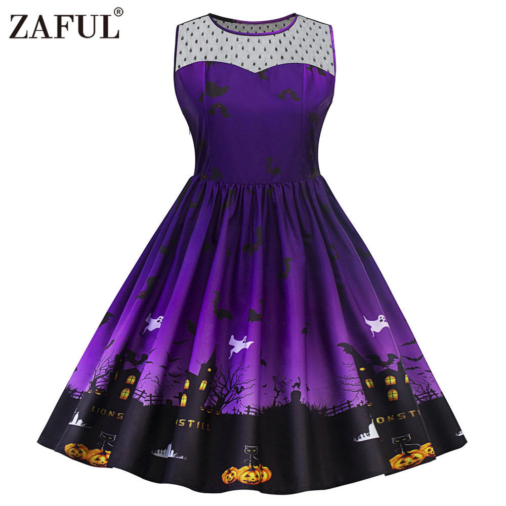 zaful 5xl halloween print lace panel vintage dress women retro rockabilly a line pin up party. Black Bedroom Furniture Sets. Home Design Ideas