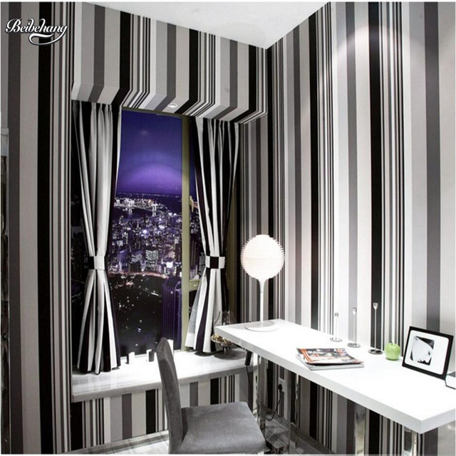 Beibehang Modern Simple Black And White Gray Vertical Striped Wallpaper Bedroom Living Room Tv Background
