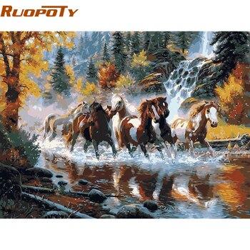 RUOPOTY フレーム川馬動物 Diy の塗装 Provenc ヨーロッパ手描き油絵キャンバス家の壁のアートピクチャーのため