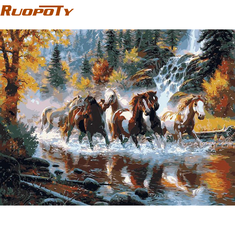 RUOPOTY Frame River Horse Animals DIY Painting By Numbers Europe Handpainted Oil Painting On Canvas For Home Wall Art Picture