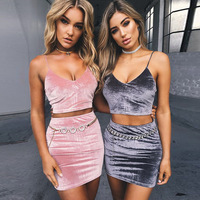 New Runway Summer Style 2017 Women Two Piece Set Ladies Sexy Party Velvet Crop Top And Pencil Skirt Set
