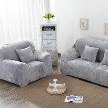 Autumn winter solid color plush warm sofa cover Thicken All-inclusive non-slip slipcover elasticity Sofa cushion