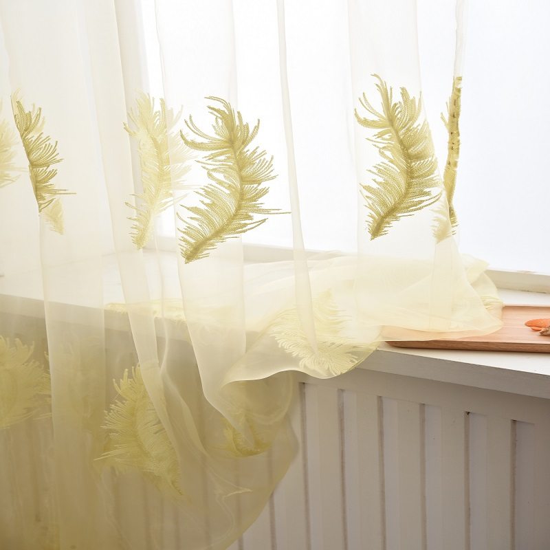 Curtain Cute Living Room Valances For Your Home: Cute Feather Embroidered Tulle Curtains Polyester Window
