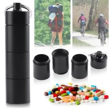 Portable Waterproof Outdoor Medicine Pill Container Aluminum Case Keychain with 6 Rubber Rings Black цена в Москве и Питере