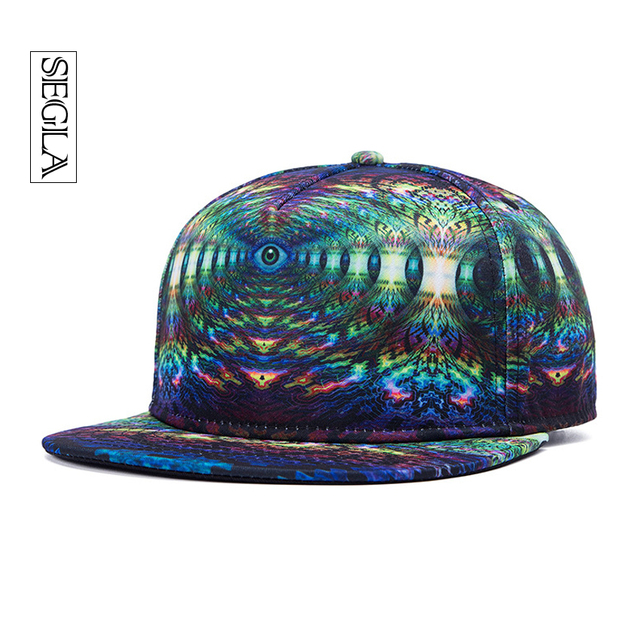 Segla 3d ajustáveis bonés de beisebol snapback plana abas largas evil eyes impressão casquette street sports & outdoor unisex hip hop sol chapéu