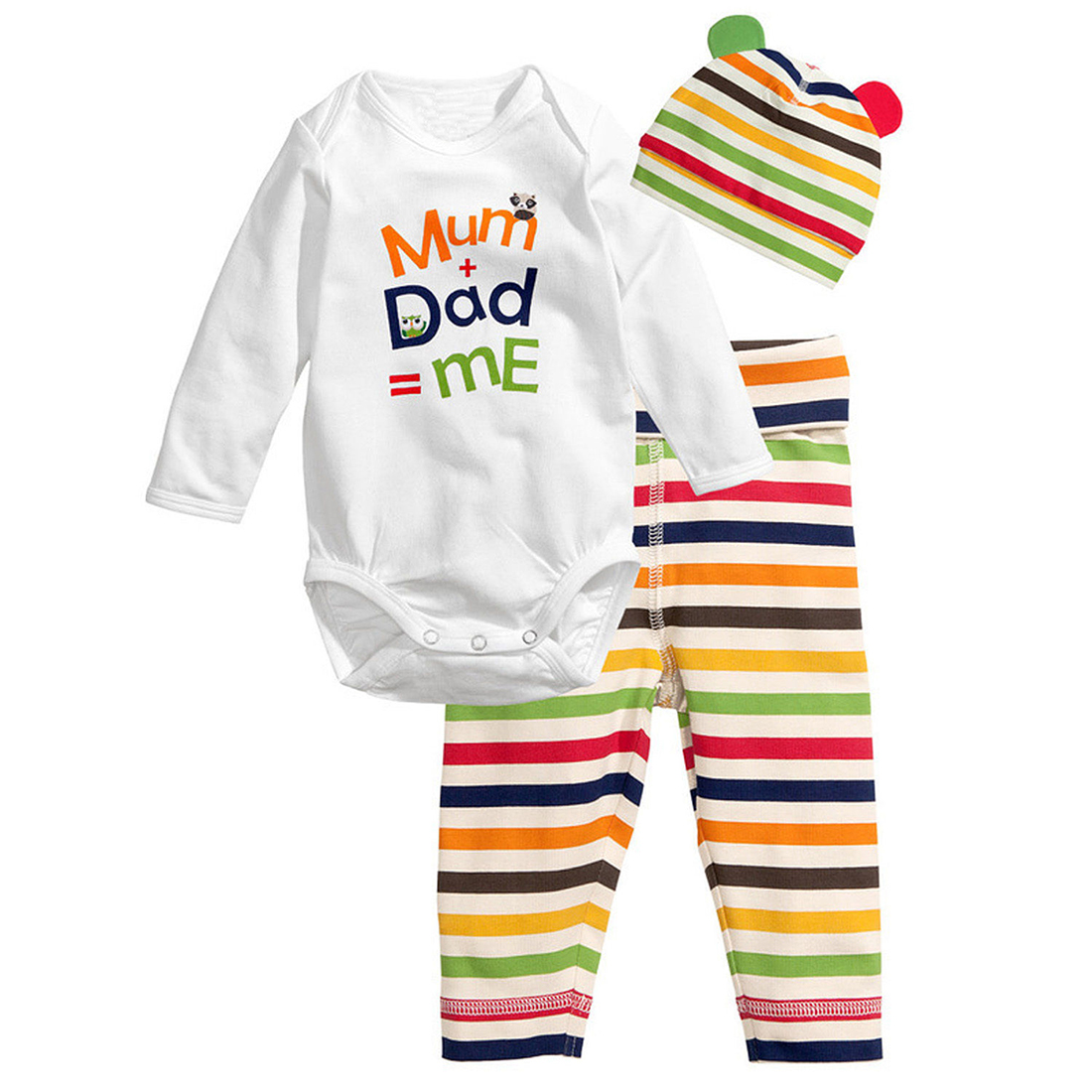 3pcs Baby Boys Girls Kids Newborn Hat+Romper+Pants Trousers Outfit Clothing Set Colour:Colourful Size:80(6-12 Months)
