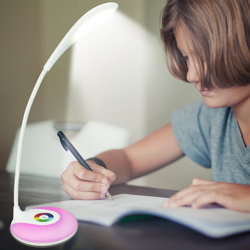 Color ring USB portable funky LED table lamp reading lamp eye protection touch colorful base with touch dimmer on/off switch