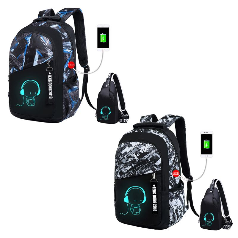 Night Luminous Anti-Theft Backpack Daypack Shoulder School Bag USB Charger PortNight Luminous Anti-Theft Backpack Daypack Shoulder School Bag USB Charger Port