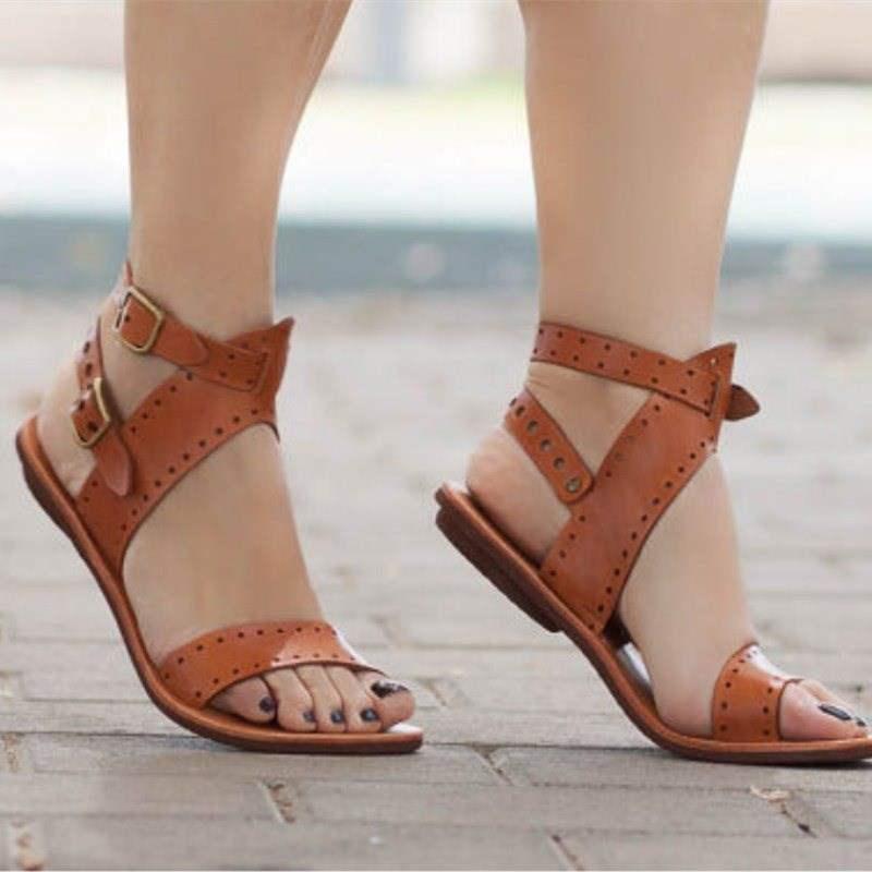 Femmes sandales fond souple sandales plates Pu cuir chaussures d