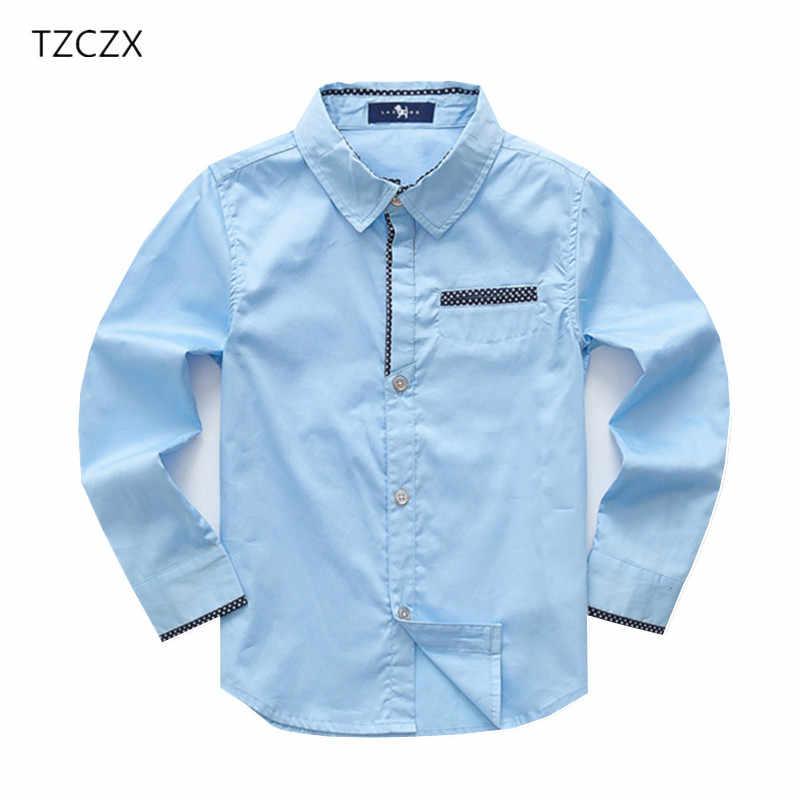 f2afee2dfb4 TZCZX-3025 акция для мальчиков рубашки европейский и американский Стиль  100% хлопок однотонные рубашки